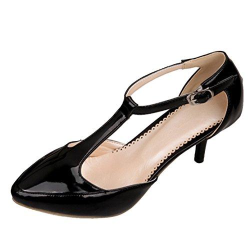AIYOUMEI Damen T-spangen Spitz Lack knöchelriemchen Pumps mit 7cm Absatz Modern Schuhe