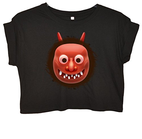 Red Oni Mask Emoji Crop Top Schwarz