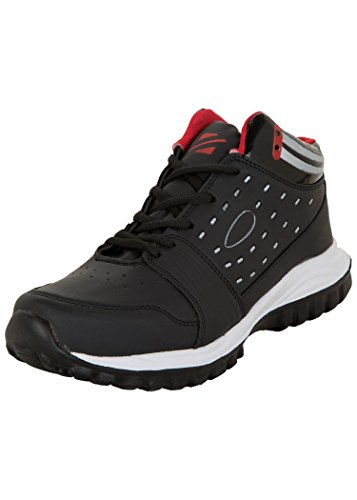 Zovi Synthetic Black High Ankle Sports Shoes With Striped Heel Collar And Red Accents (10399800706) -7 UK