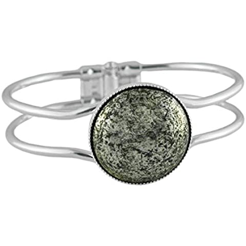 La Plata 925 Plateó el Brazalete de la Pulsera de la Universal Ajustable de Tamaño de 18 cm de Terracota de Marfil de Cristal checo de Piedra de 25 mm de la Mano BohemStyle