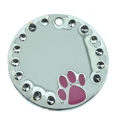 Personalised Engraved 32mm Large PINK Paw Stainless Steel Crystal Pet ID Tag Dog 1
