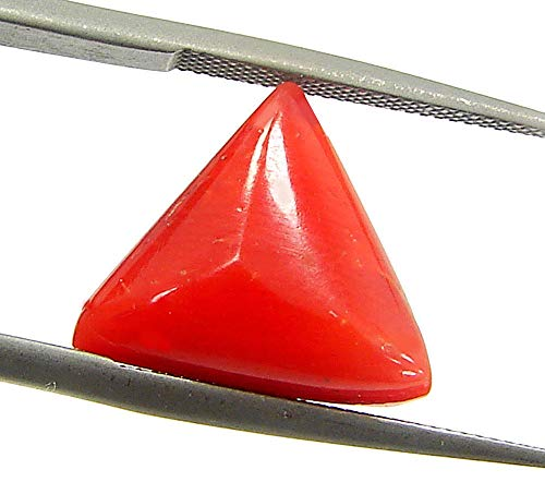 Pride Gems 2.5 Ratti AAA and More Certified Natural Italian Triangle Coral Munga Stone for Men and Women