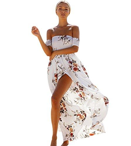Robe Longue Plage Boheme Été Femme Robe Fleurie Maxi Ete Robe Bandeau Bustier Imprimée Fleur Fete Fluide Epaule nu Col Robes Longues Fleuries Bohême Élégante Grande Taille Blanc 4XL