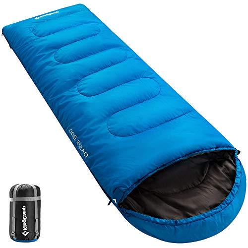 KingCamp Oasis Saco de Dormir de 3 Estaciones 4 Tamaños Disponibles (Niño, Adulto, Extragrande y Doble Extragrande) en 6 Colores (Adulto 220 x 75cm 4 Temporada, Azul R)