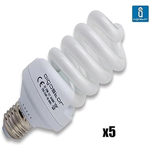 Pack de 5 Bombillas T2, 23W, forma espiral, casquillo gordo E27, 1200 lumen, luz blanca 6400K