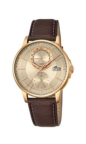 Lotus Men's Quartz Watch with Gold Dial Analogue Display and Brown Leather Strap 18324/2