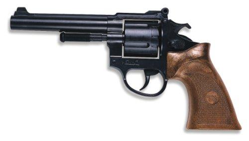 """Edison Giocattoli \""""Avenger\"""": pistola giocattolo in stile revolver, in tinta con il costume da poliziotto, utilizzabile con il set munizioni da 12 colpi, dimensione 21,5 cm, colore nero (E0183 / 22)"""