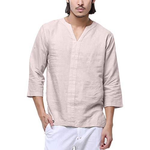 Tyoby Herren Sommer T-Shirt Baumwolle Leinen Langärmliges Hemd V-Ausschnitt Beach Yoga Schnitt Top Bluse(Beige,XL)