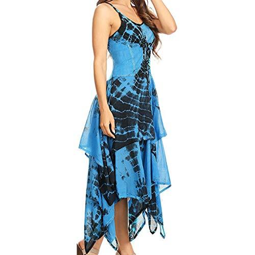 GNYD Kleider Damen Sommer-Reizvolle Art Und WeiseunregelmäßIges SchnüRen Sich Oben Korsett-Mieder-Taschentuch-Saum-Kleid