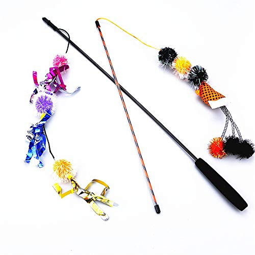 (Zhou Yunshan Glücklich Katzenspielzeug Zwiebel Ball Ring Papier Lustige Katze Stick Eva Griff Halloween Modelle 2 Packs.)