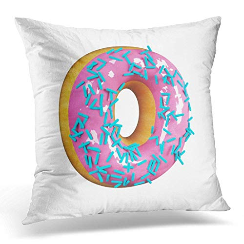 Yuerb kissenbezüge Cake Rose Glazed Donut with Blue Sprinkles Delicious Letter O 3D Rendering White Candy Decorative Pillow Case Home Decor Square 18x18 Inches Pillowcase (Kleine Boudoir Kissen)
