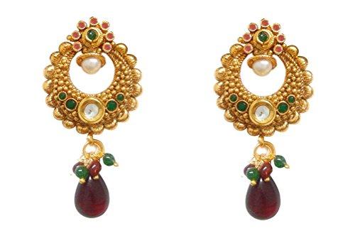 Chandrika Pearls Ram Leela Inspired Kundan Polki cubic zirconia navratri garba dandia Earrings  available at amazon for Rs.250