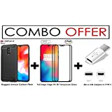 [ COMBO OFFER ] For OnePlus 6T – WOW Imagine Premium Full 5D Edge-to-Edge Tempered Glass (PACK OF 2) + Brushed Carbon Fibre Texture Back Case [Anti Shock] (Black) + Micro-USB To Type C Adapter [All You Need Accessory Kit]