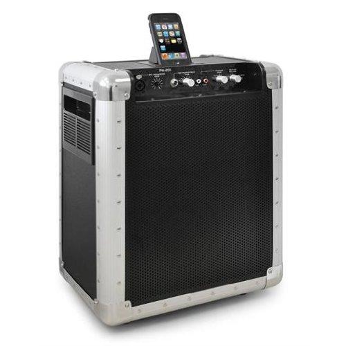 Skytec PA-20 impianto audio portatile diffusore cassa attiva con docking station iPod (200 Watt, 2 (Dj Station Karaoke)