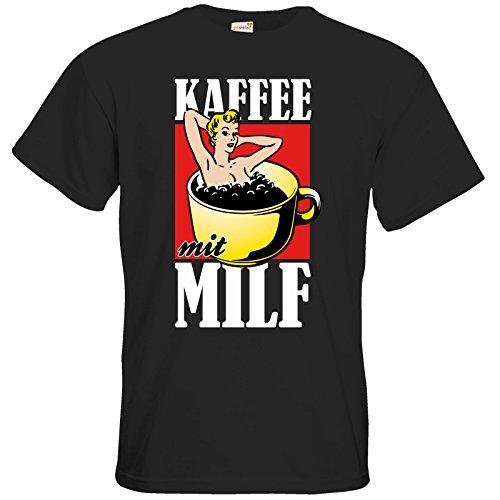 getshirts - Rocket Beans TV Official Merchandising - T-Shirt - Kaffee mit MILF - black M (Tv Und Kaffee)