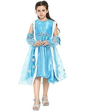 Katara 1718 – Eisprinzessin Königin Elsa Mädchen Ball Festkleid Kinder-Kostüm mit Umhang – Disney-inspiriert mit...