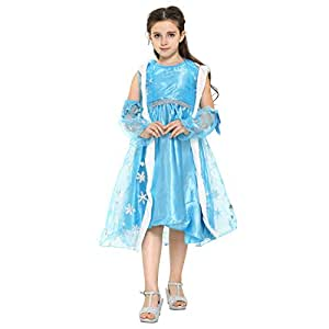 Katara - Il Vestito Festivo di Principessa Elsa Frozen, Costume da Principessa Elsa, Abito da Regno di Ghiaccio per Feste a Tema, Carnevali, Compleanni, Blu con Mantello, per Bambine da 6-7 anni