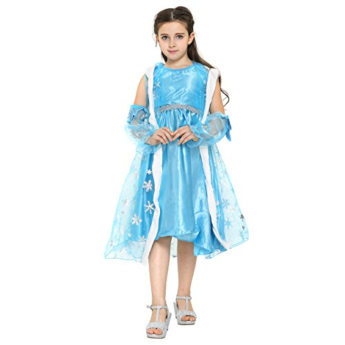 nzessin Königin Elsa Mädchen Ball Festkleid Kinder-Kostüm mit Umhang - Disney-inspiriert mit Glitzer, Kapuze, Stickerei - Verkleidung zu Karneval, Weihnachten - 134/140 Weiß/Blau ()