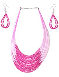 A2Z Online Store Fashionable Beads Necklace Set With Earrings Jewellery For Women And Girls- Set Of 2 (A2ZOS-...