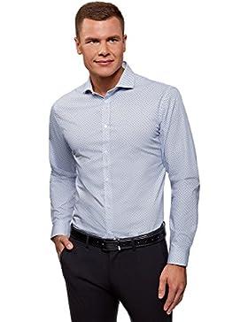 oodji Ultra Uomo Camicia Aderente in Cotone