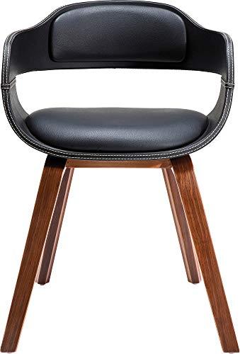 Kare Design Stuhl mit Armlehne Costa Walnut, moderner, bequemer Esszimmerstuhl, brauner, schwarzer Designstuhl aus Kunstleder und Walnussholz, Braun-Schwarz (H/B/T) 70,5x52x51cm -