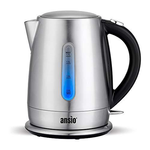 ANSIO Bouilloire, bouilloire électrique 3000W sans fil 1,7 L, bouilloire en acier inoxydable,...