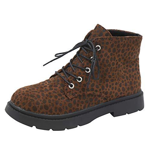 Yvelands Damen Stiefel, Platz Heel Leopard Print Schuhe Martain Boot Warm Runde Schuhe halten Stiefel Stiefeletten(36,Braun)