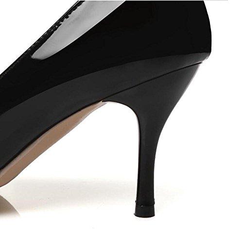 OL Pumpen Büros Hollow Scarpin Stiletto Mid Heel Spitz-Toe Frauen Casual Hochzeit Elegante Schuhe Europa Größe innerhalb Biger Größe 30-45 Black