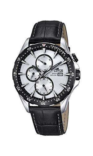Lotus Men's Quartz Watch with Silver Dial Analogue Display and Black Leather Strap 18312/1