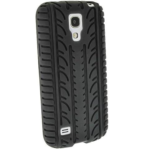 igadgitz Noir Pneu Étui Housse Silicone pour Samsung Galaxy S4 SIV Mini I9190 I9195 Android Smartphone + Protecteur d