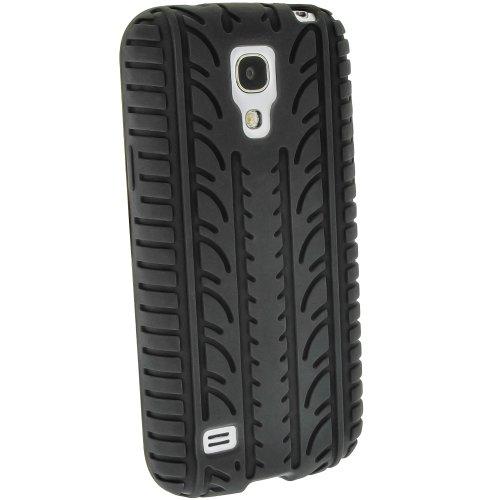 igadgitz Noir Pneu Étui Housse Silicone pour Samsung Galaxy S4 SIV Mini I9190 I9195 Android Smartphone + Protecteur d'écran