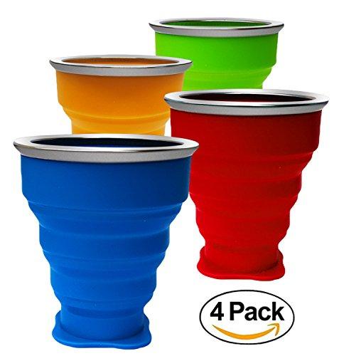 Paquete de 4 Tazas de Silicona Plegable,Copa de Viaje Plegable, 200 ml Grado de Comida Copa Plegable de Taza de Café Portable del Viaje Para Senderismo Cámping Deportes al Aire Libre Tapa Caliente Incluida