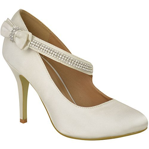 Branded Damen Ehe Braut Ball Party Hoher Absatz Klassisch Pumps Schuhe GRÖßE - Elfenbein Satin, 38