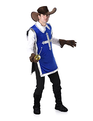 Imagen de disfraz de mosquetero azul hombre