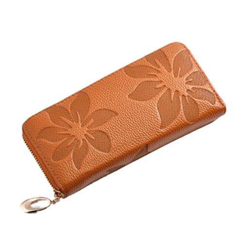 GGTFA Donna Moda Donna Clutch In Pelle Fiore Long Wallet Card Caso Di Titolare Di Borsa Borsa Borsa Giallastro