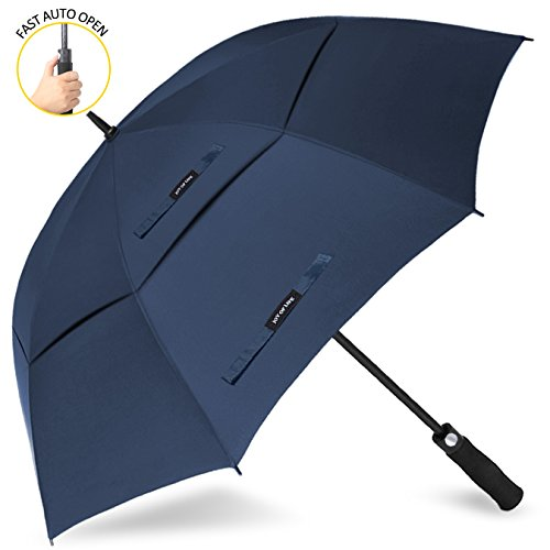 ZOMAKE Automatic Open Golf Umbrella 68 Inch Oversize Extra Large Double Canopy Vented Windproof Waterproof Stick Umbrellas(Blue)