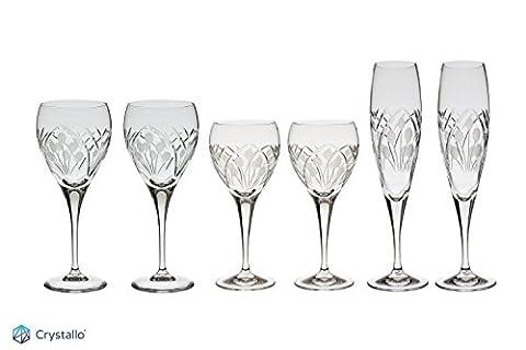 Crystallo Art Deco Kristall Wein Set