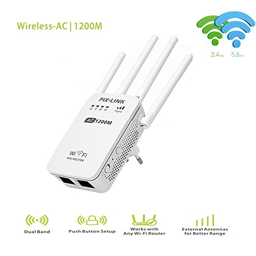 Pix-Link AC1200 Dual Band WIFI Repeater/Router/Access Point Wireless 1200Mbps Range Extender Wi-Fi...