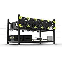 Professionale 6 GPU Minatore Cassetta Alluminio Sovrapponibile Scavare Cassetta Trivella Telaio a Giorno per Ethereum(ETH)/ETC/ ZCash Eccezionale design di convezione dell'aria che migliora la prestazione e la vita del GPU