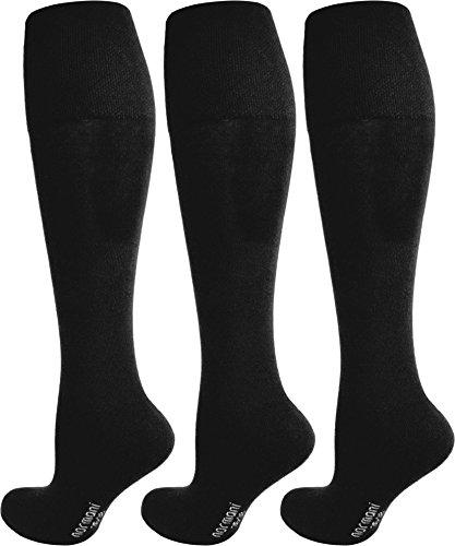 3 Paar Schwarze Kniestrümpfe Baumwolle mit Elasthan ohne Gummidruck! handgekettelt ohne naht Farbe Schwarz ohne Frotteesohle Größe 39/42