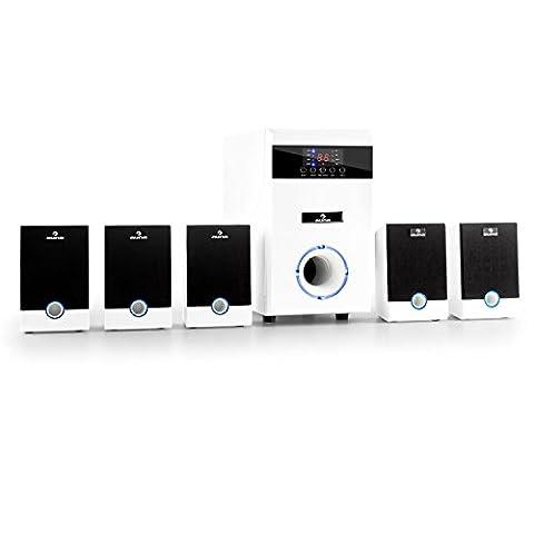 auna 5.1-JW Heimkino 5.1 Lautsprechersystem (95 Watt RMS, AUX, Fernbedienung, Sleeptimer, Pianolack-Front, LED-Lichteffekt) weiß