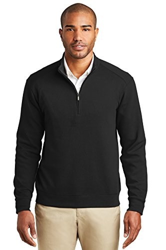 Port Authority® Interlock 1/4-Zip. K807 Deep Black/ Charcoal Heather S (Deep Heather Charcoal)
