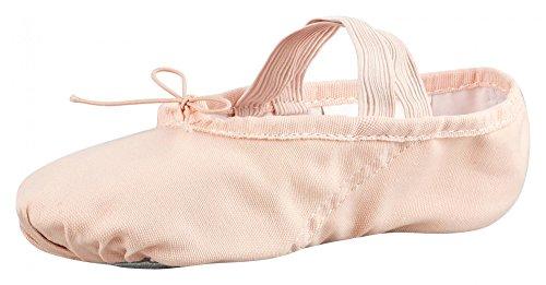 tanzmuster Kinder Ballettschuhe Charlie aus Leinen, Geteilte Ledersohle, rosa-apricot, Größe:22 - Richtung Schablone 1