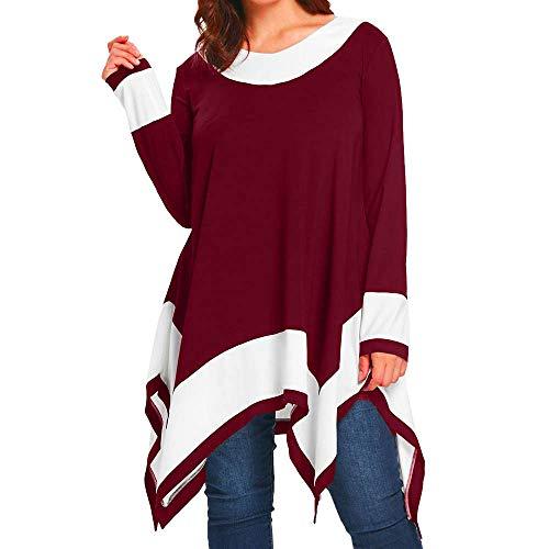 iHENGH Damen Frühling Sommer Top Bluse Bequem Lässig Mode Frauen Blusen Plus Größe Langarm Patchwork unregelmäßiger Rand Bluse Pullover Tops Shirt(Rot, (Daenerys Plus Größe Kostüm)
