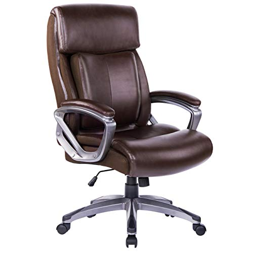Bosmiller Bürostuhl Chefsessel Drehstuhl aus Leder Office Pc Stuhl Höhenverstellbarer Lendenwirbelsäule Sitzhöhenverstellung Bürosessel Mit Armlehne Brown 9080