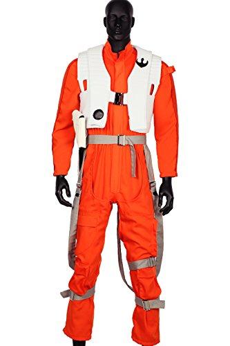 Dameron Poe Kostüm Kinder - Pandacos Poe Dameron Kostüm Cosplay Weste Jumpsuit Overall Herren Costume aus Baumwolle&Polyesterfaser Deluxe Outfit für Karneval und Fasching