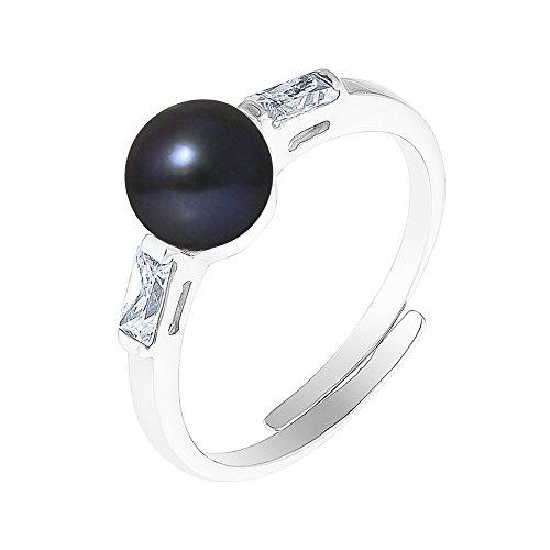 Pearls & Colors Damen-Ring 925 Silber rhodiniert Perle Süßwasser-Zuchtperle Schwarz Ringgröße verstellbar - AM-BAGC 924-1B6-BL (Süßwasser Schwarz Perle Ring)