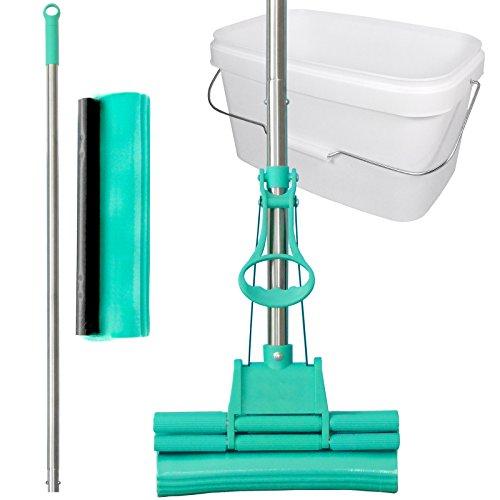 GREEN MOP Set 20-02 - Green Mop 20 cm + Stiel + Ersatzschwammm + 10 Liter Eimer in weiß - Doppelwringer Mop saugstarker Wischmop PVA Bodenwischer - Brestol