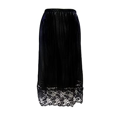 Ladies Black White Underskirt Petticoat Half Slip Skirt Over Knee Lace SL 0641