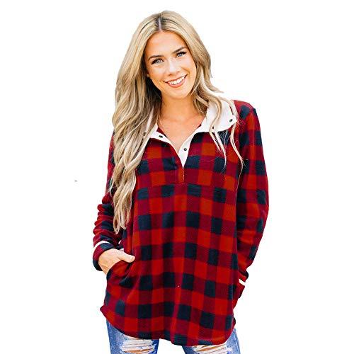 WHSHINE Damen Mode Kariert Langarm Oversize Hemd Button Down Longshirt Cardigan Top Casual Krempelbar Ärmeln Bluse Langarm Karierte Hemd Oberteile (S, Rot)